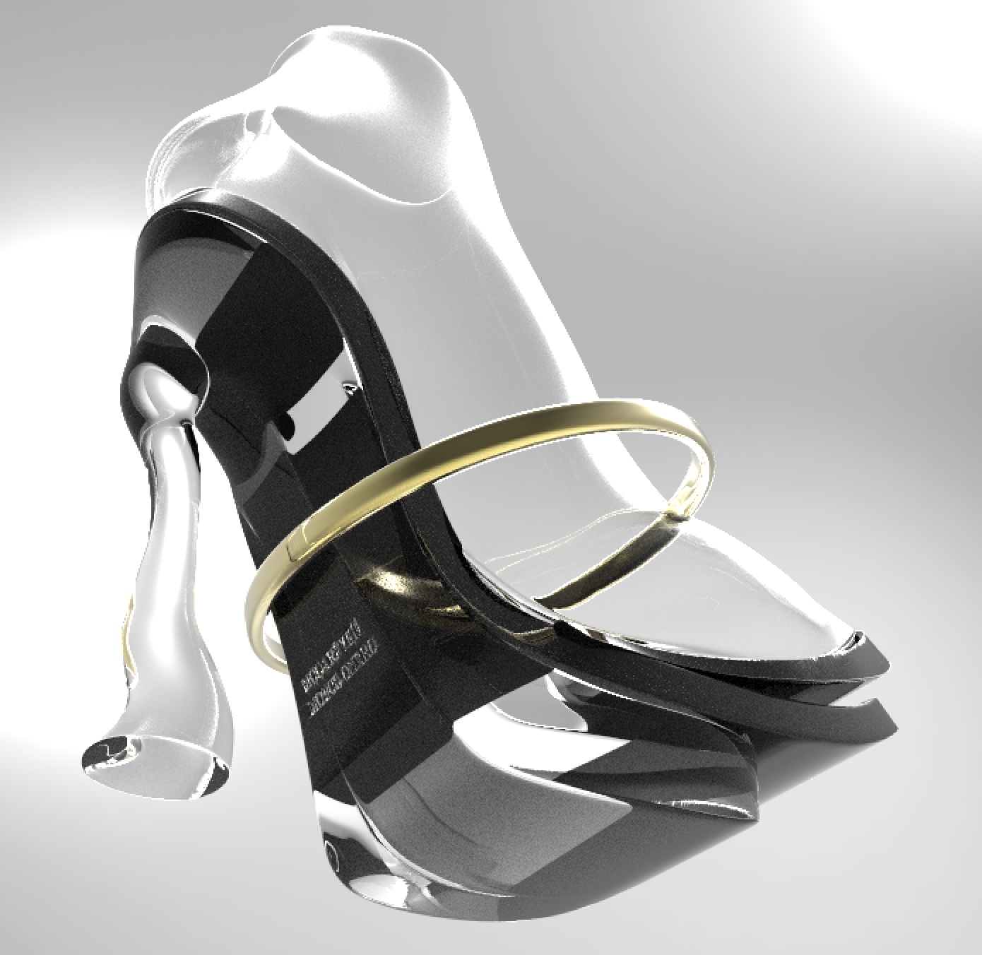 Bottom Up View to show stacked platform and heel