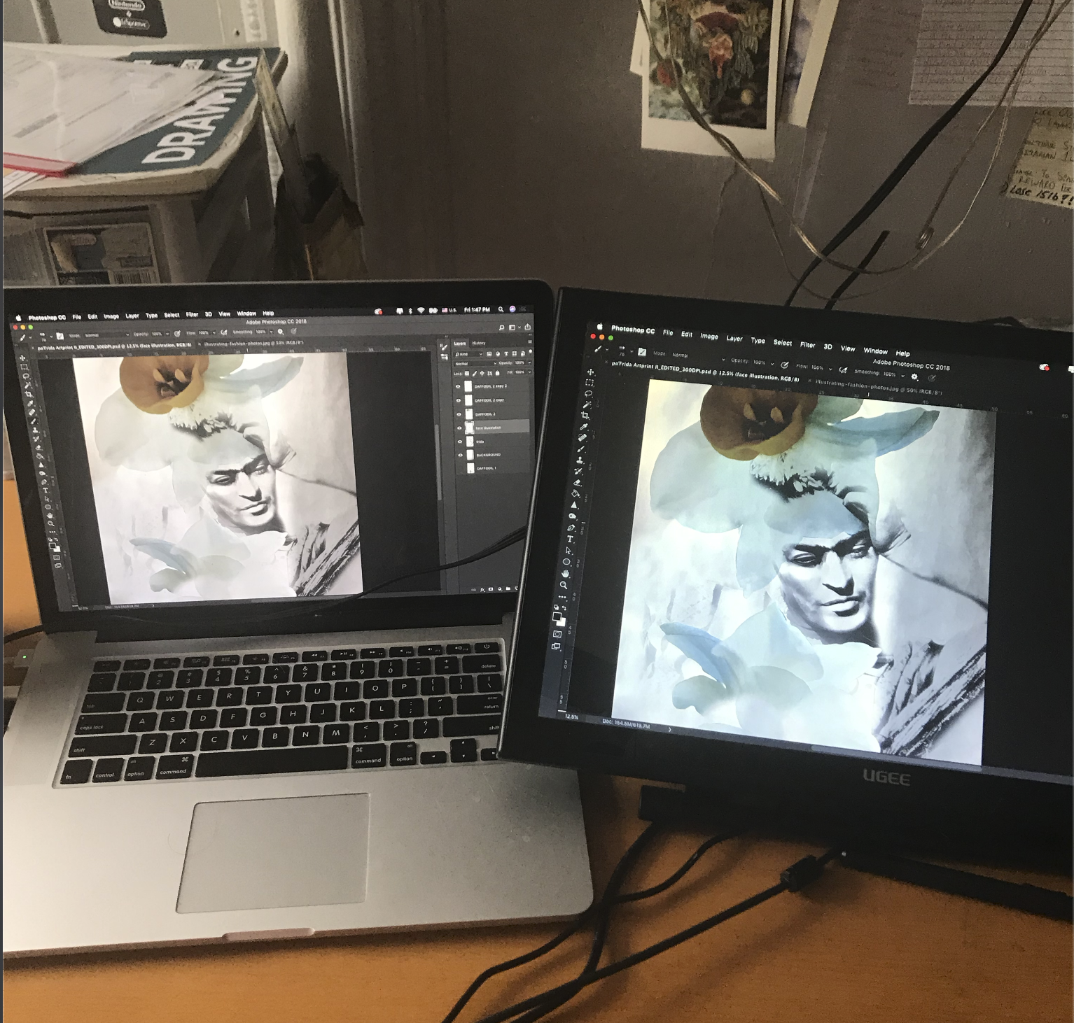 pa'Frida print in the making