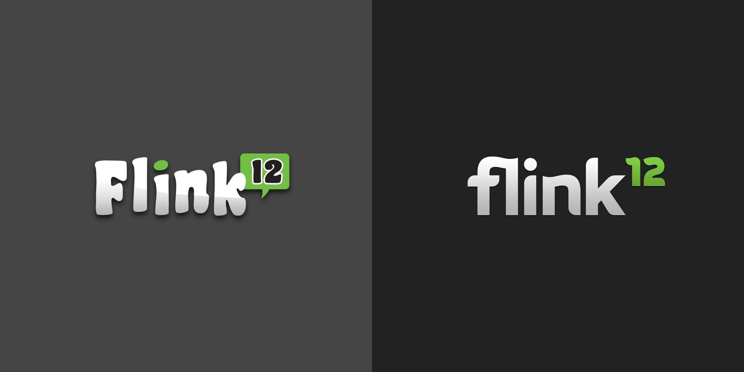 The Flink12 logo before and after we revamped the web app.