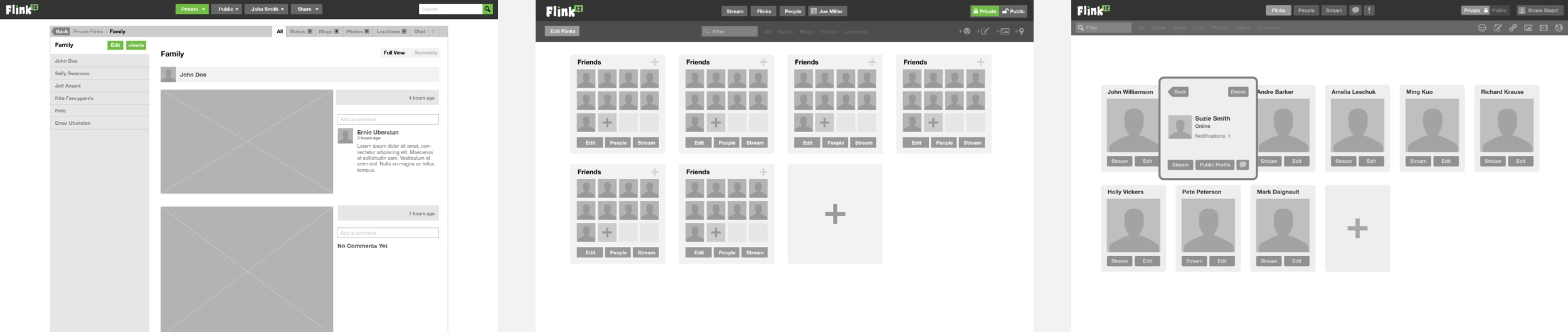 Some of the wireframes that I put together as I refined various UI elements.