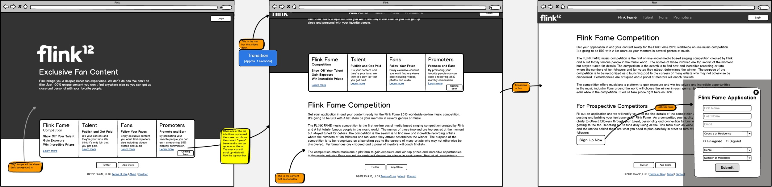 Wireframes from one of the promo site designs as the product evolved.