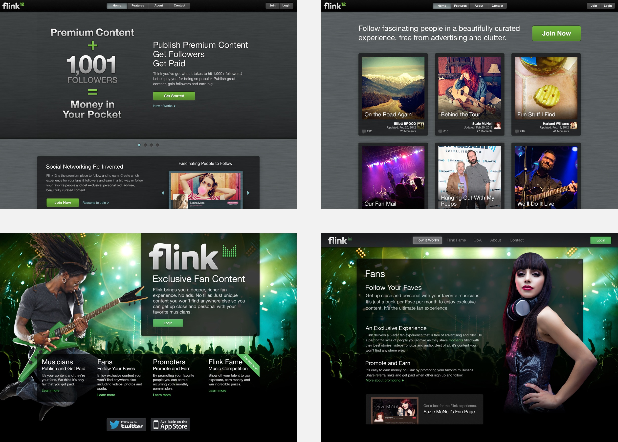 Some of the promo site designs throughout the various stages of the app.