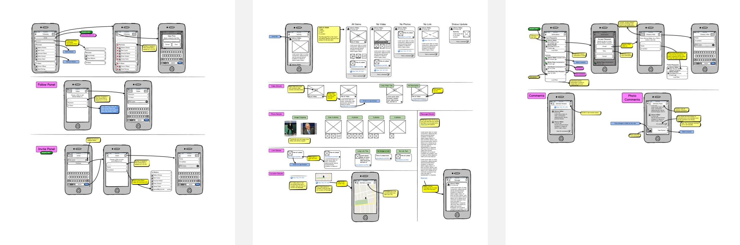 For these wireframes I included detailed interaction instructions for the developers.