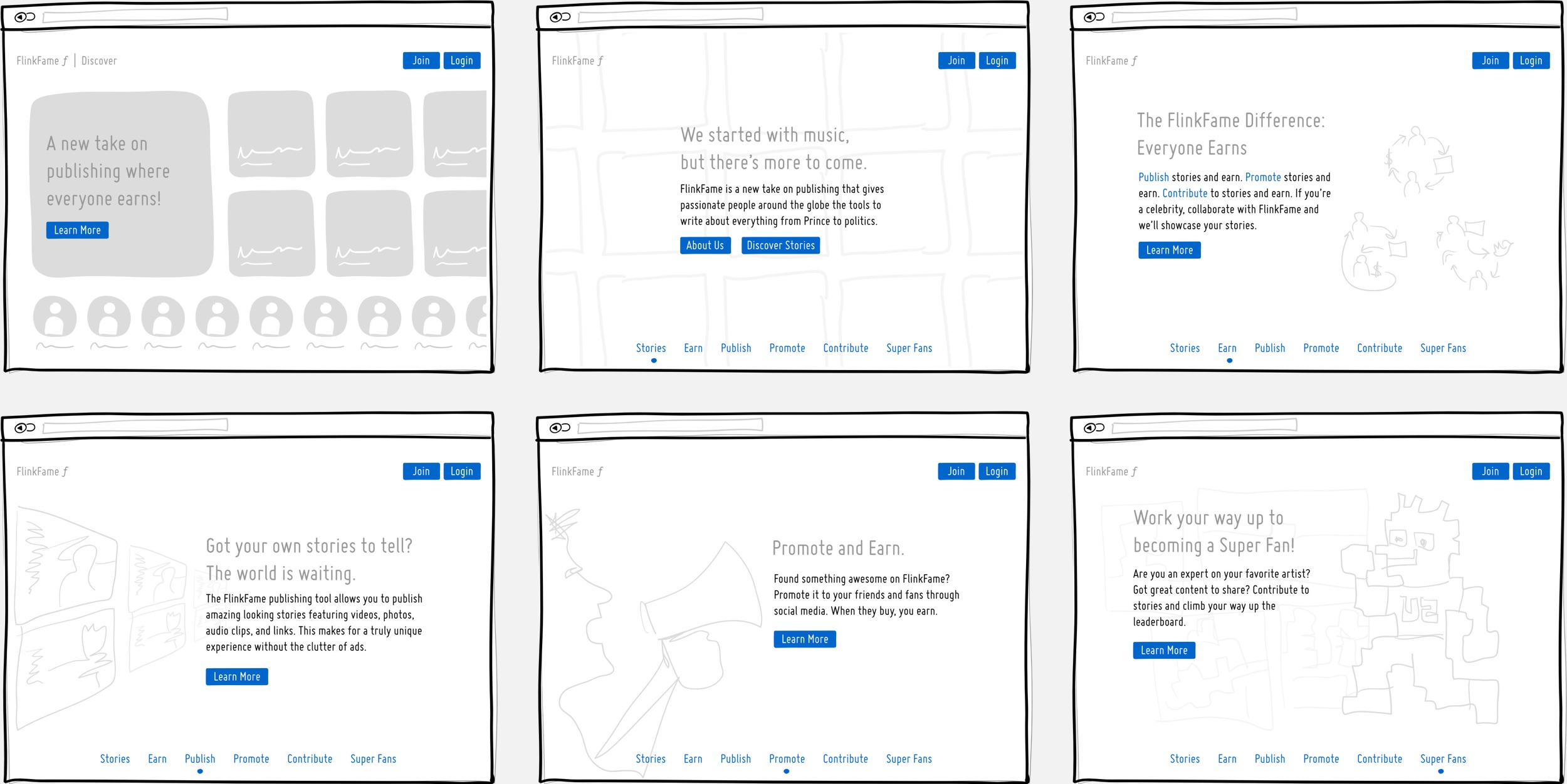 Wireframes of the home page and 'Learn More' section which walks the user through the product and it's benefits.