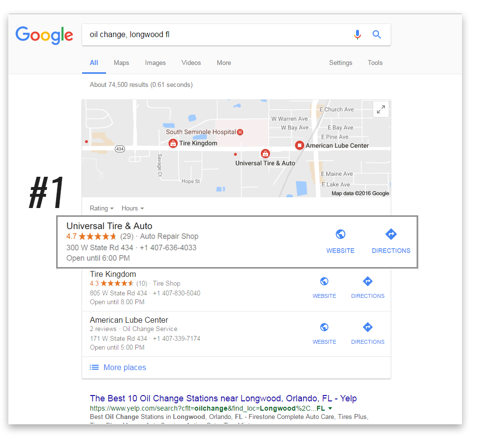 Same client from above, showing #1 spot on google maps listing for their most important term!