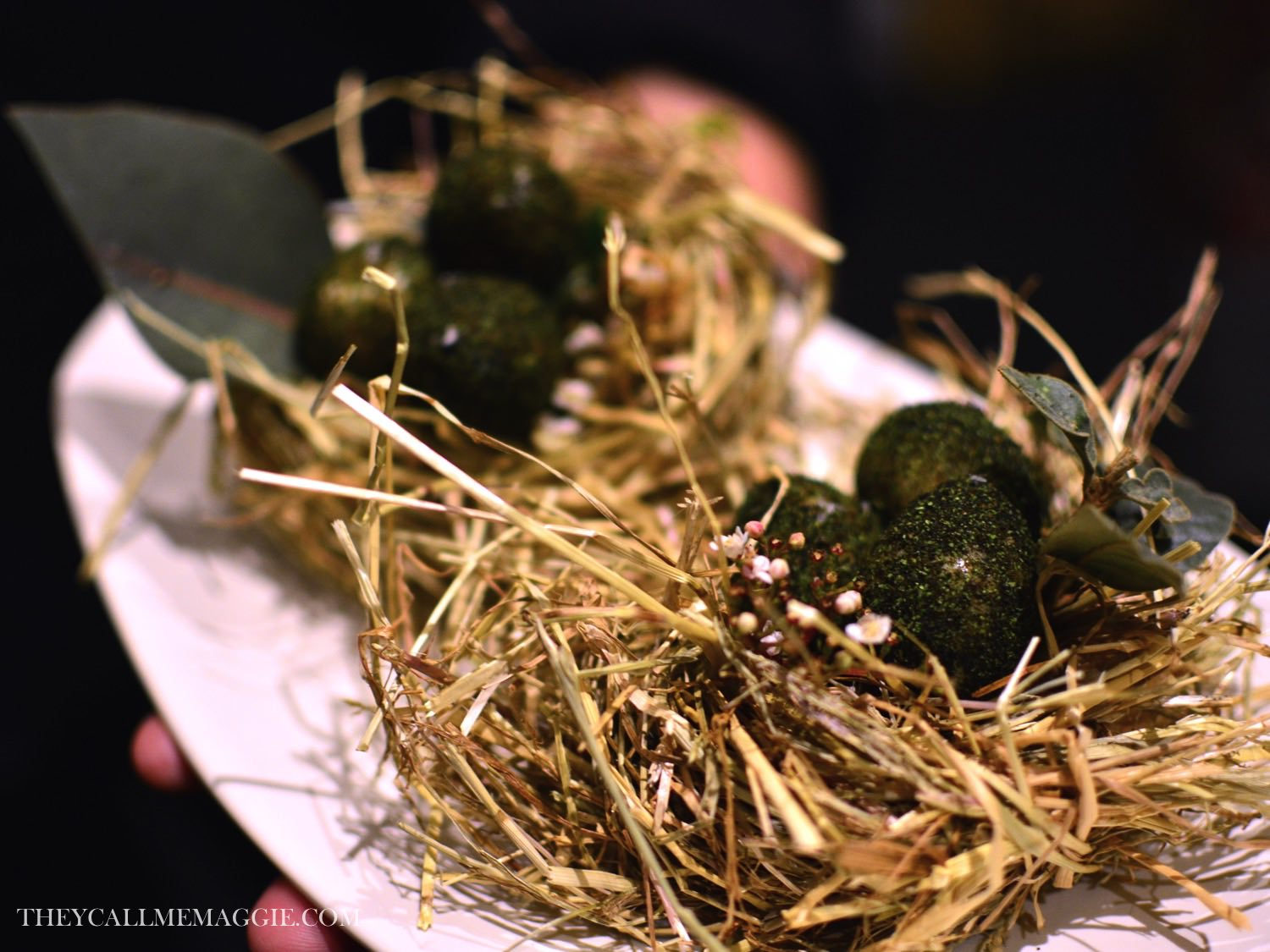 Celery ash coated quail egg