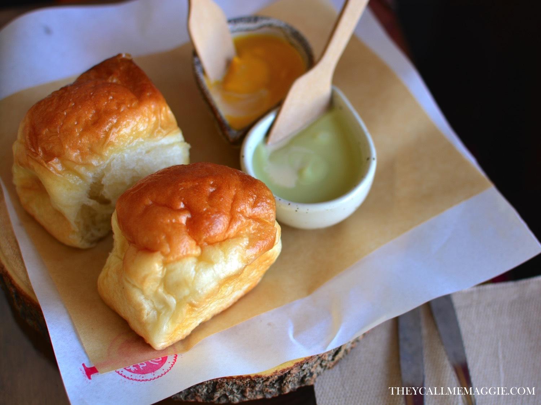 Kaya toast - farmhouse bread with pumpkin and pandan kaya spreads.