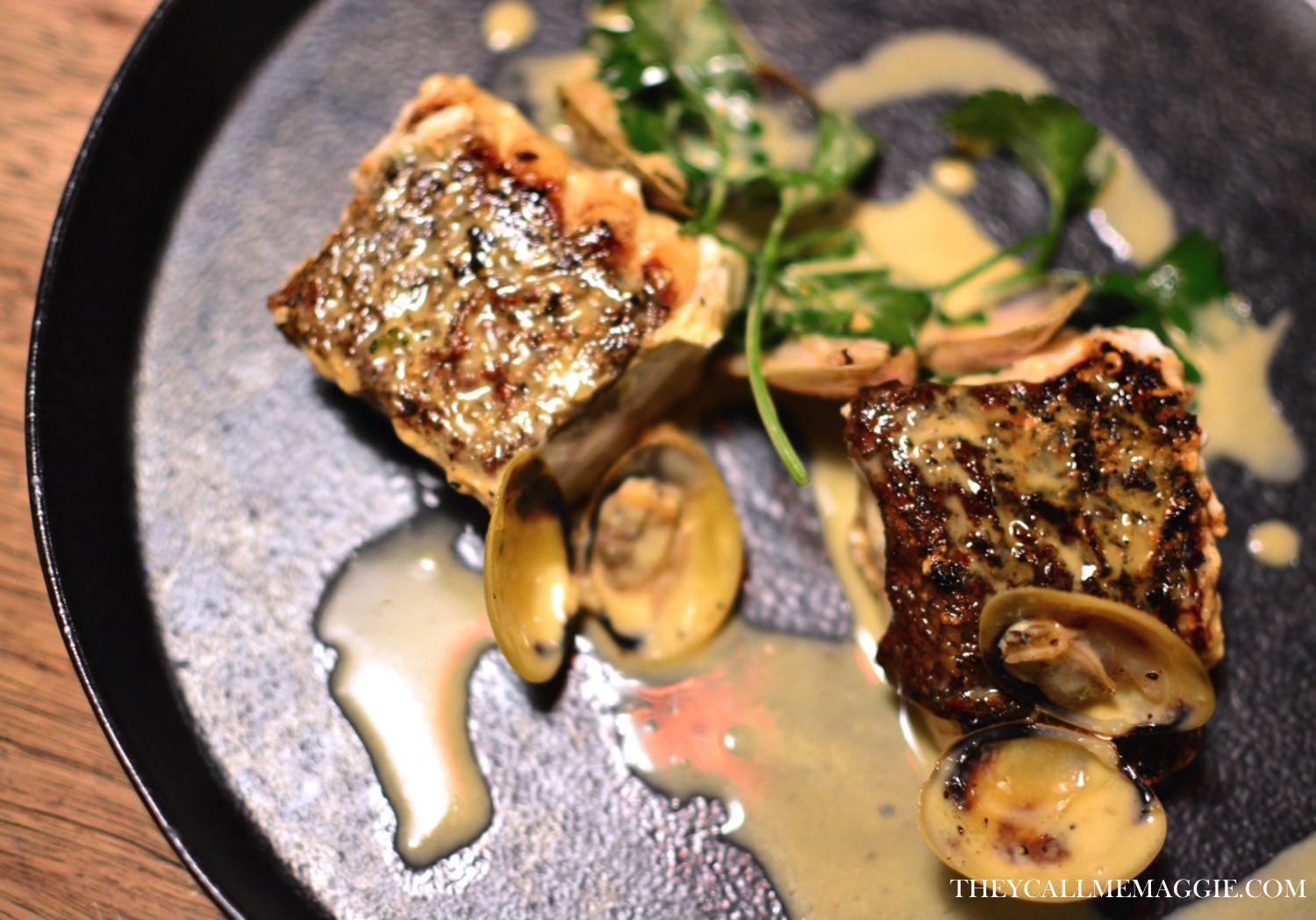 Seared Blue Eye with clams, white wine and parsley