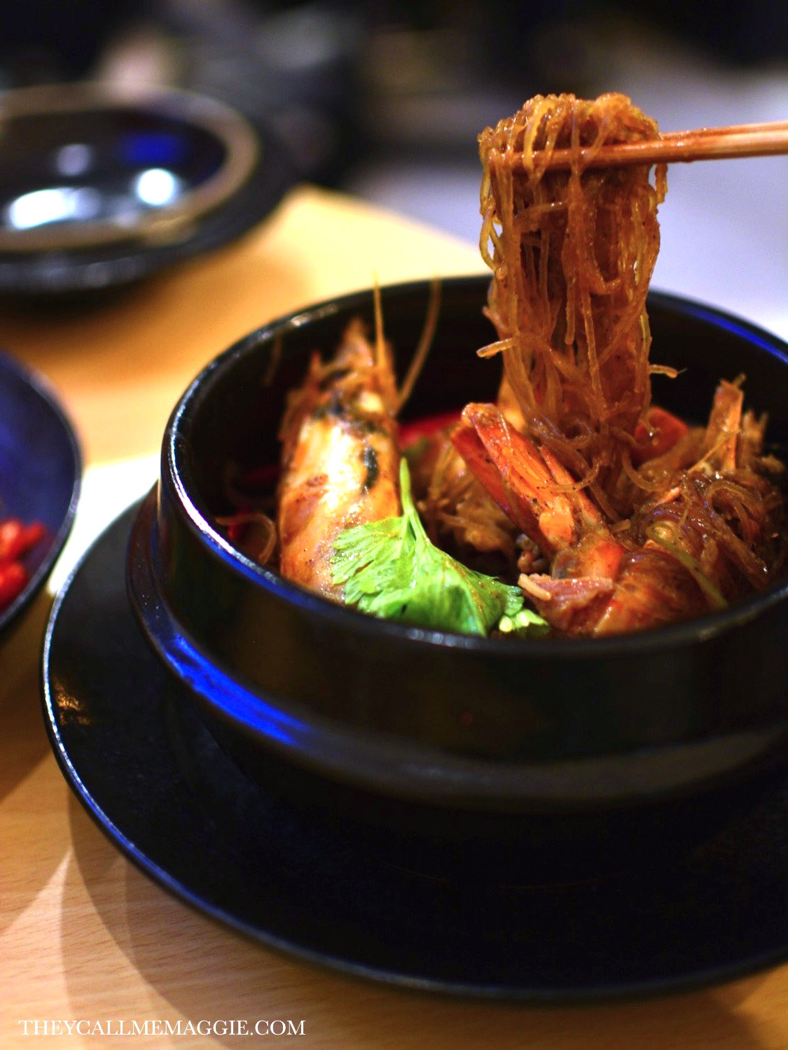 King prawn and mushroom glass noodle clay pot.
