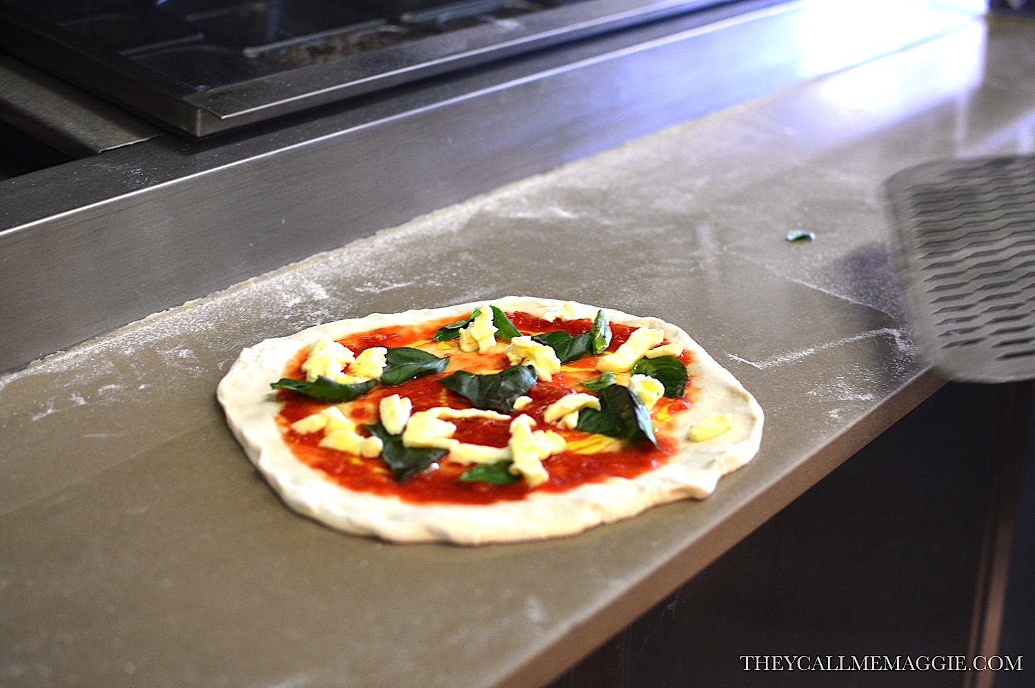 Margherita pizza, pre-cooked.