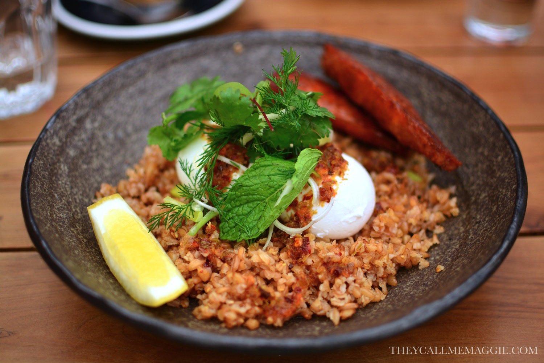 Chilli eggs with chorizo.