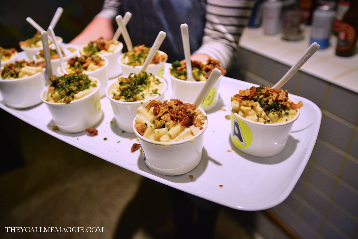 Mac 'N' Cheese - with sweet corn, creamy white bean and cashew sauce, topped with coconut bacon and breadcrumbs.