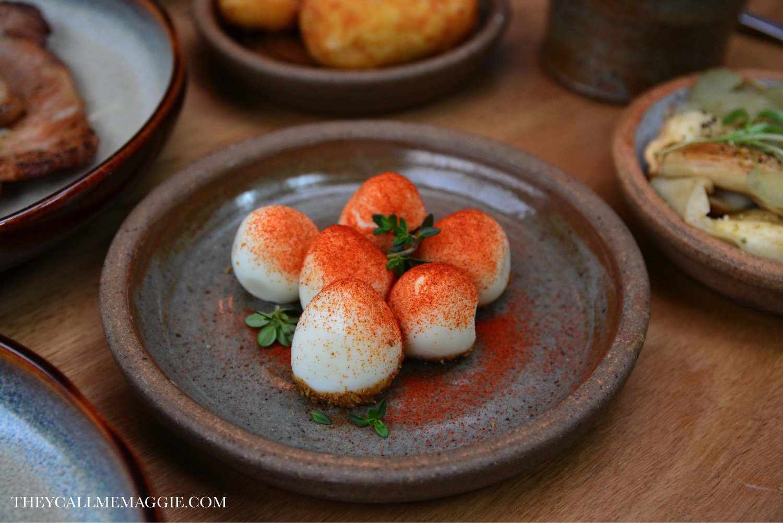Quail eggs with cumin salt.