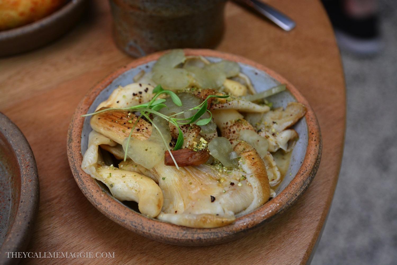Seasonal mushrooms with pickled celery.