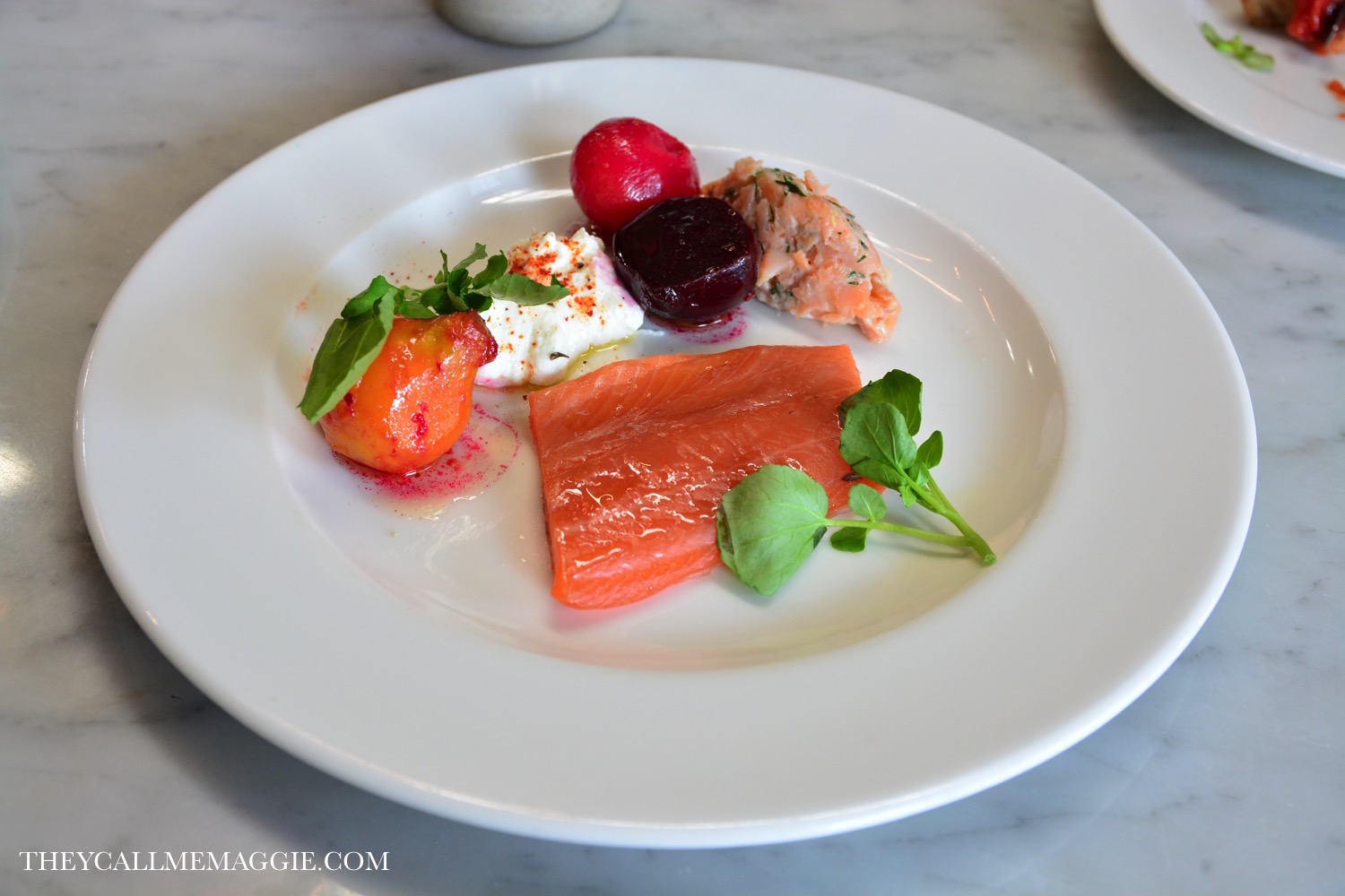 Smoked rainbow trout, rillette, beetroot and creme fraiche.