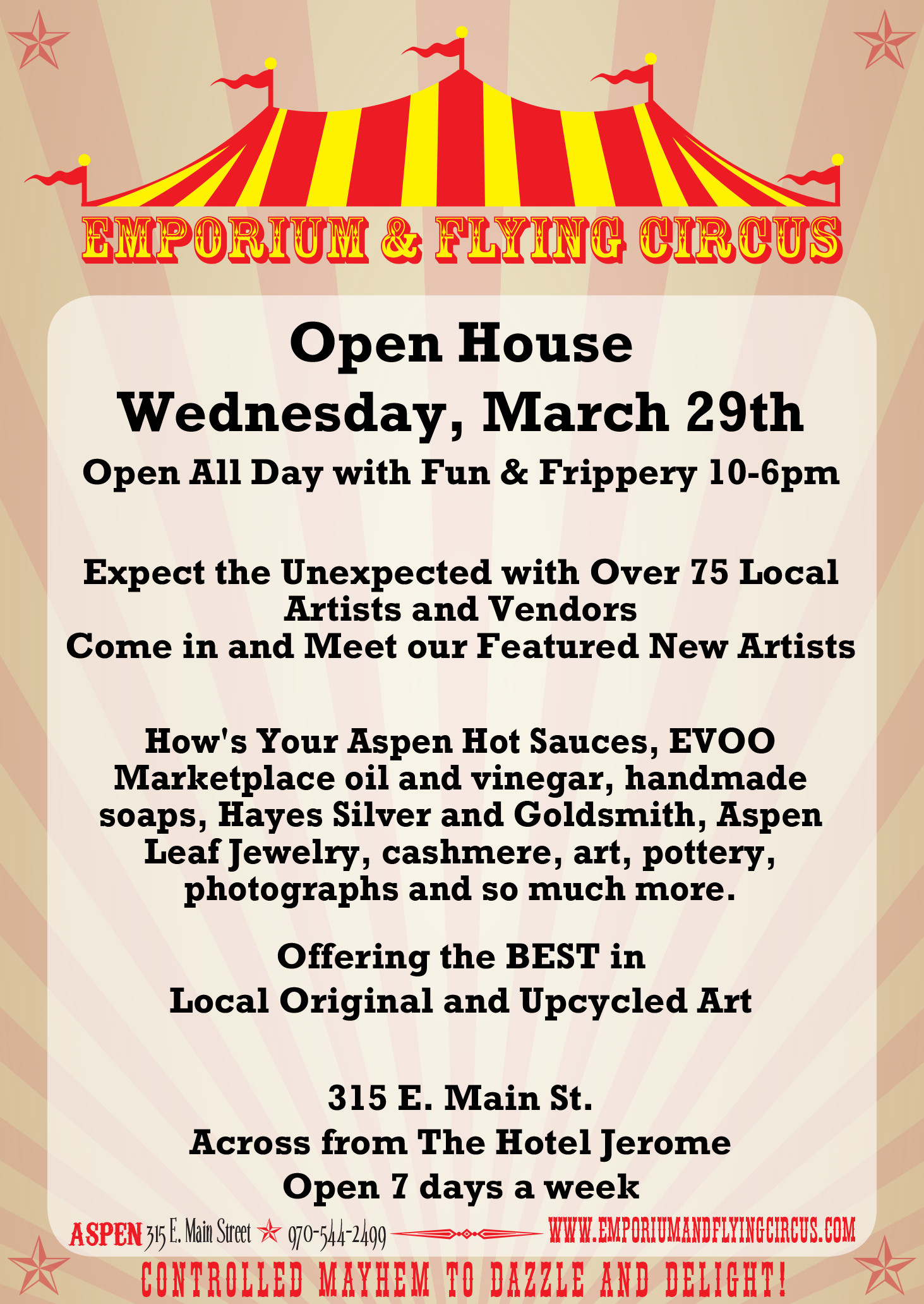 Aspen Emporium and Flying Circus Spring Open House March 29 2017