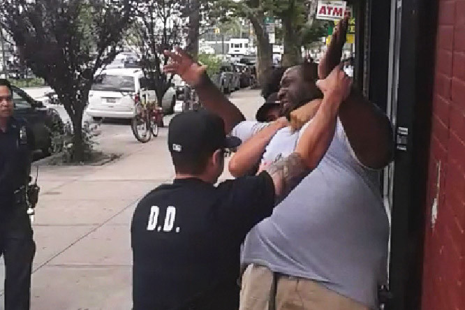 A screenshot of Eric Garner in a NYPD chokehold that caused his death.