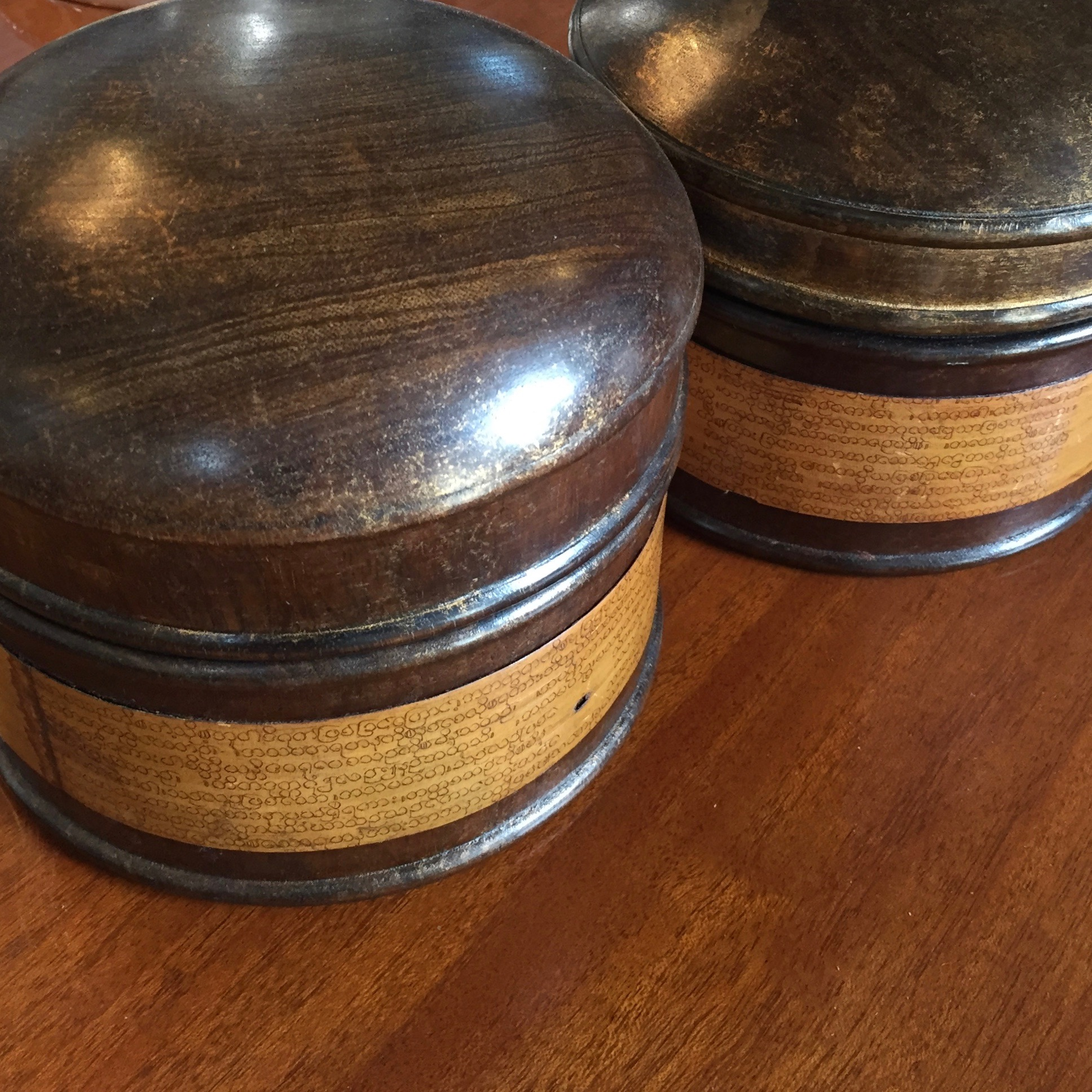 Rattan and Wood Boxes