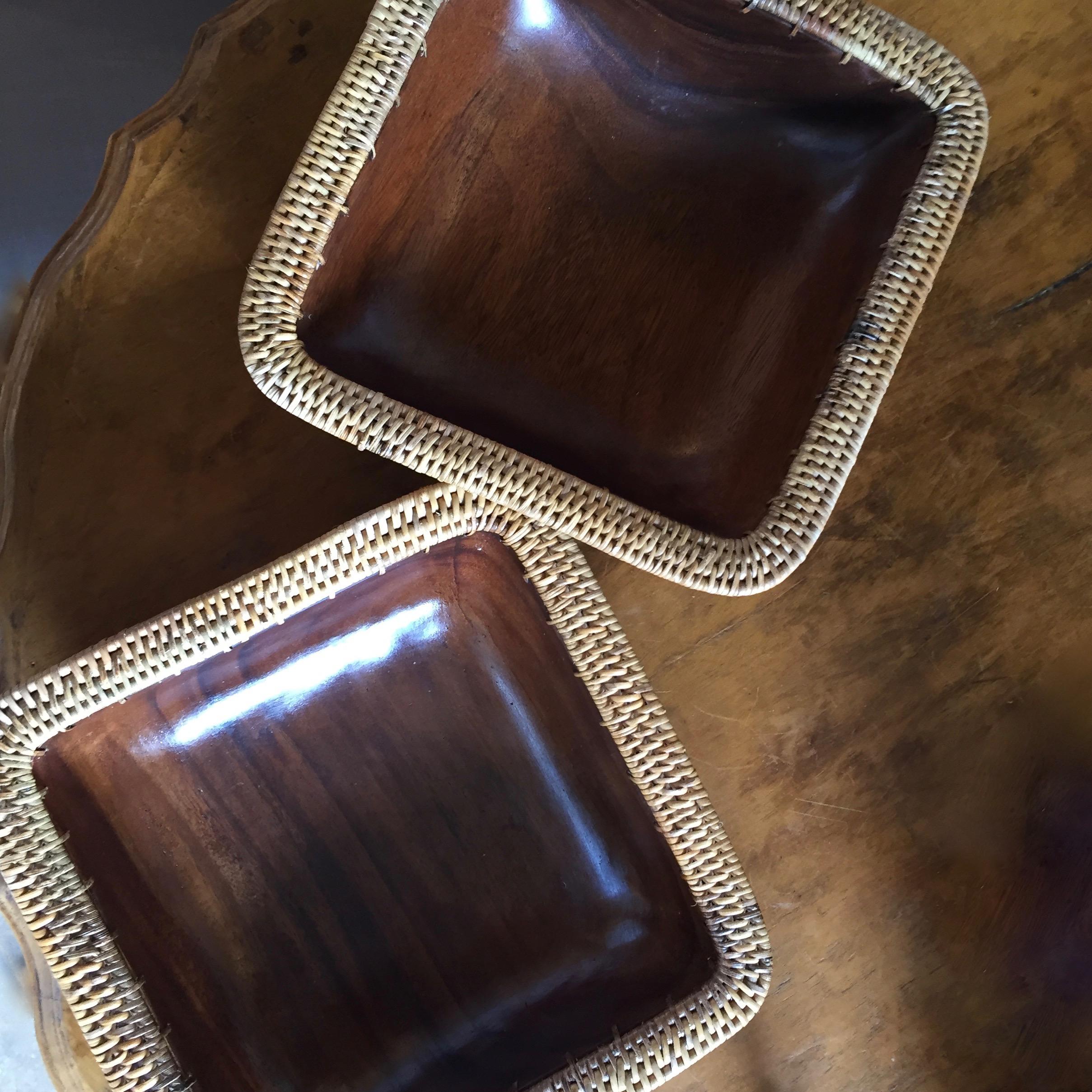 Wood and Rattan Bowls