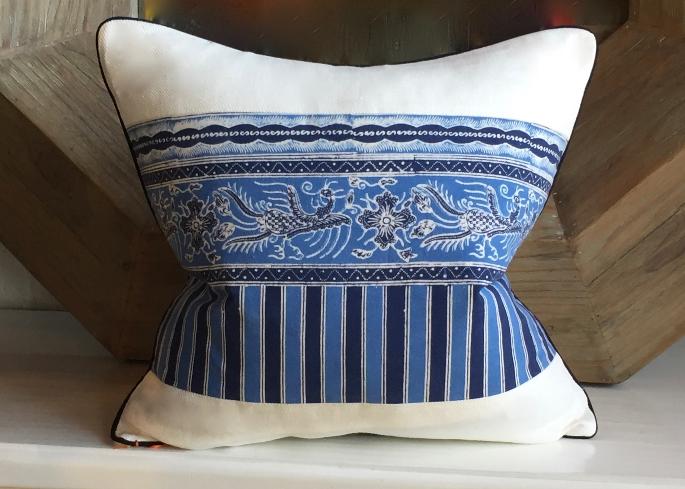BLUE DRAGON BATIK WITH IVORY TWILL LINEN