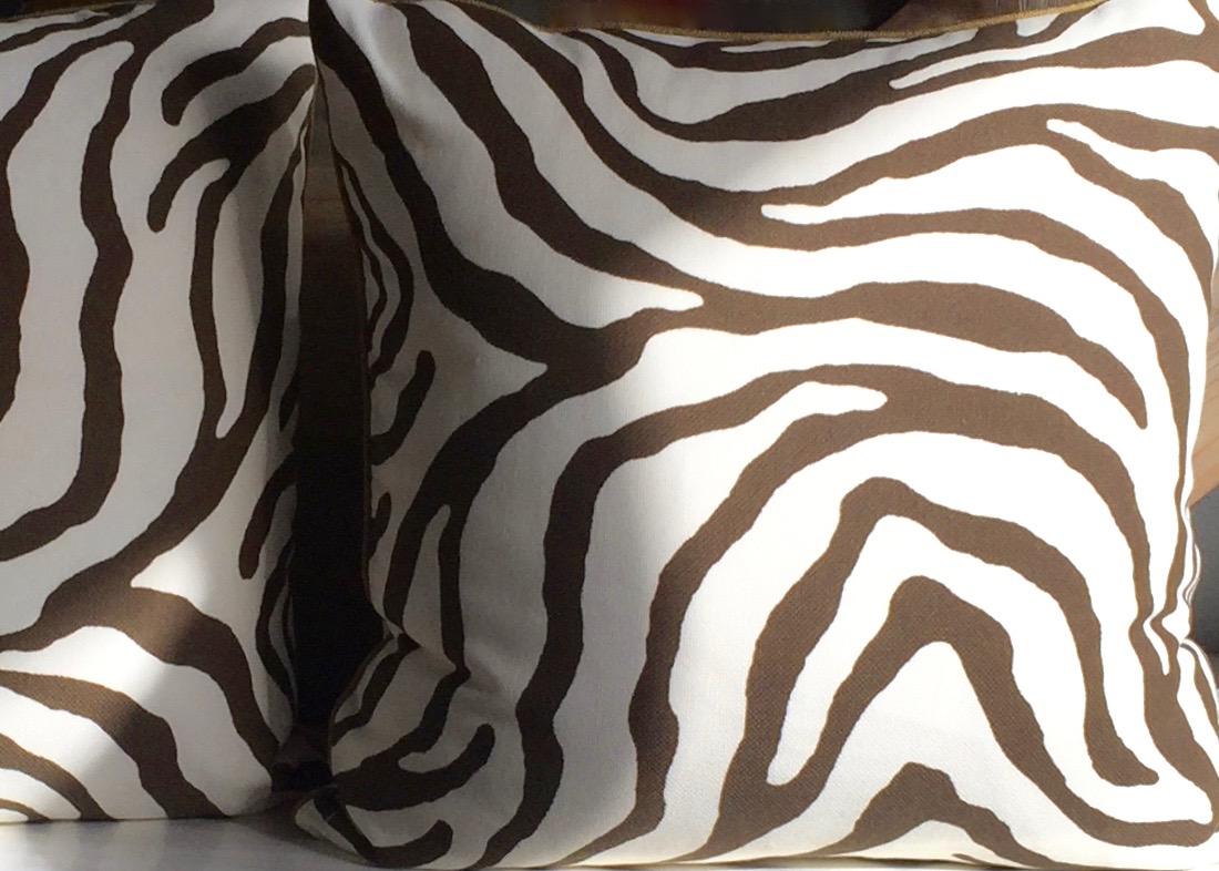 outdoor zebra pillow with ivory outdoor back