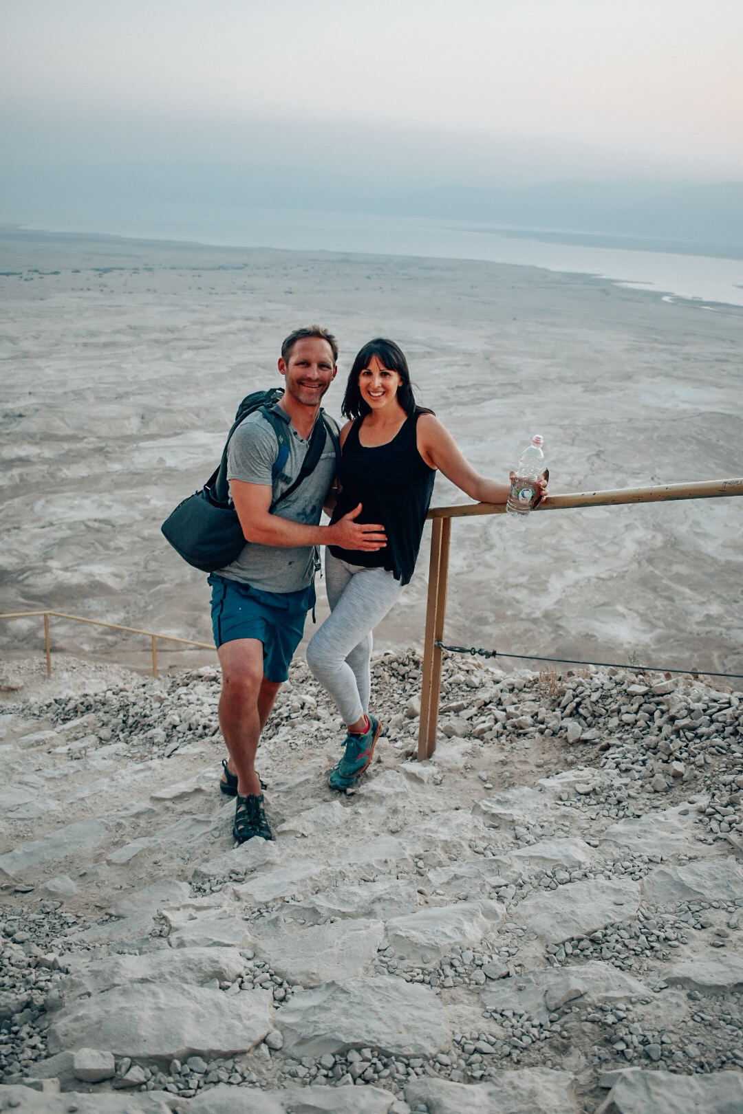Flu free and feeling strong enough to hike Masada in Israel at four and a half months pregnant.