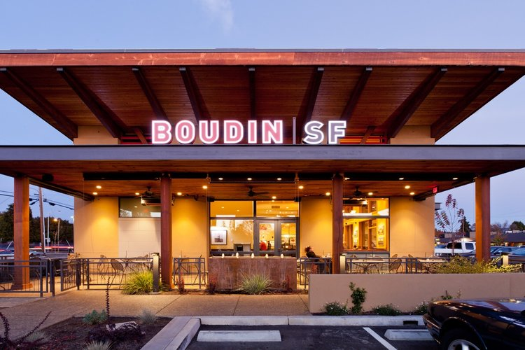Boudin SF is a flagship restaurant presently 7,200 square feet and built in 2015.  It is the northern anchor for Santa Rosa's Montgomery Village founded in 1951. The restaurant includes a local ACRE coffee shop for the client's prestige as the greatest northern site.