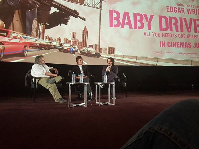 Front row seats at the best show in town. Baby Driver was amazing and the Q & A after wasn't half bad either 😉. Sorry @edgarwright, the only decent pic we got was with your eyes closed! You'd think as a production company we'd be better at this... #babydriver #whatanight #filmgeek #filmmaking