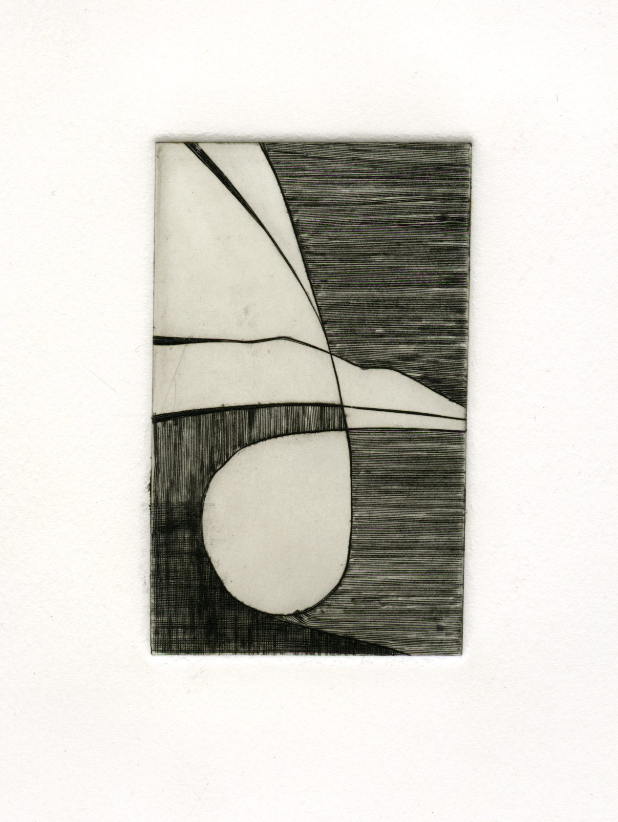 "Abstracting the Cast   , 2013  Engraving 2.5"" x 4"""
