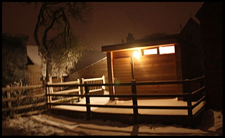 One snowy eve! The recording studio premises extend outside into fields with a large decking area. The 'pod' was added in 2011.