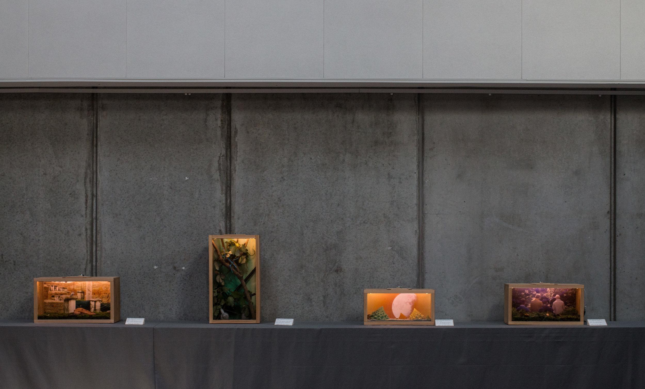 """Terrarier, 2017. MOTOR // Laurits Nymand Svendsen, Margrét Agnes Iversen, Malte Klagenberg. """" Lending a Hand """", """" Imitation """", """" Night Shortly """", """" Construction """". Photocredit: Kulturmagasinet Fine Spind, fotograf Mariana Gil."""