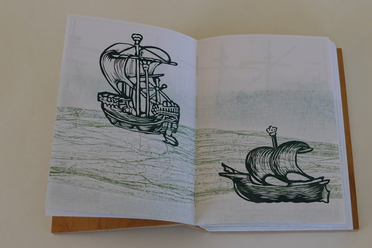 MEDIEVAL SHIP LINOCUTs and collagraphs