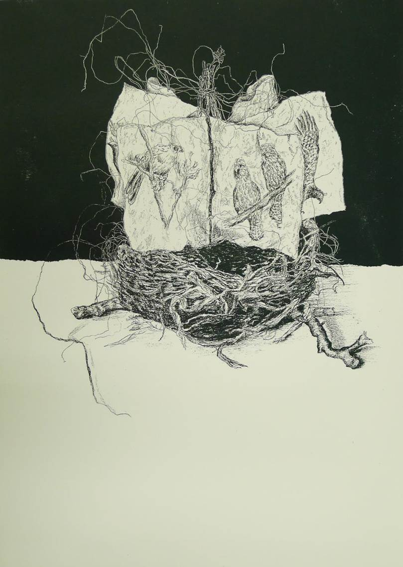 "silkSCREEN PRINT of nested book  ""Destiny"""
