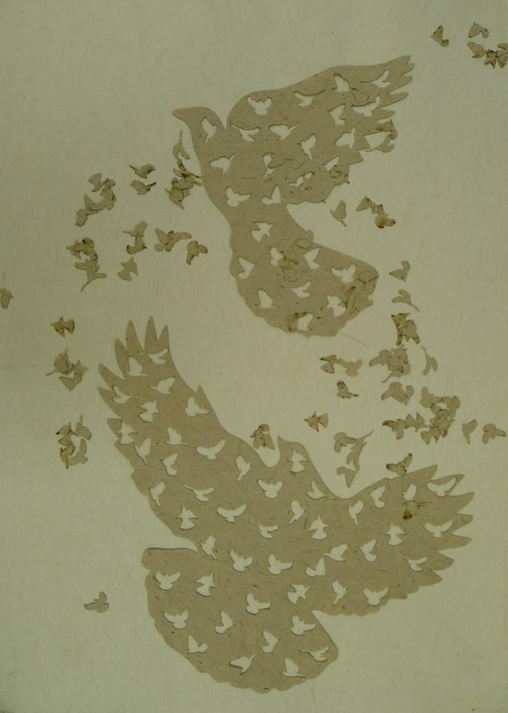 Flax paper kereru cutouts
