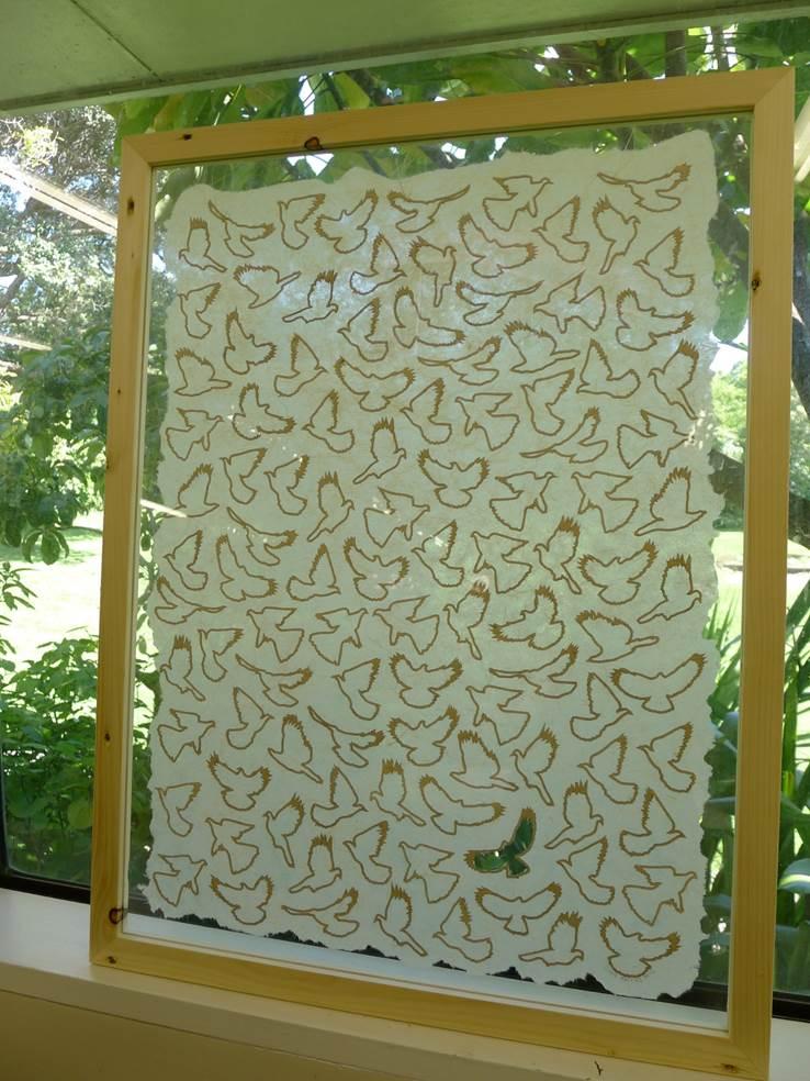 flax paper kereru  CUTOUT  outlines