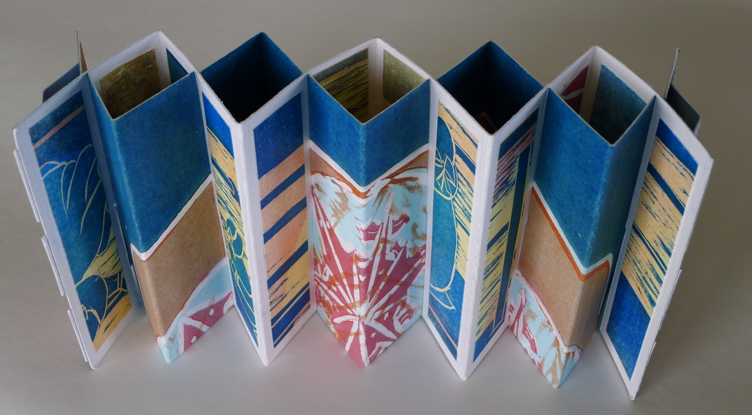double concertina structure (recycling old discarded prints)