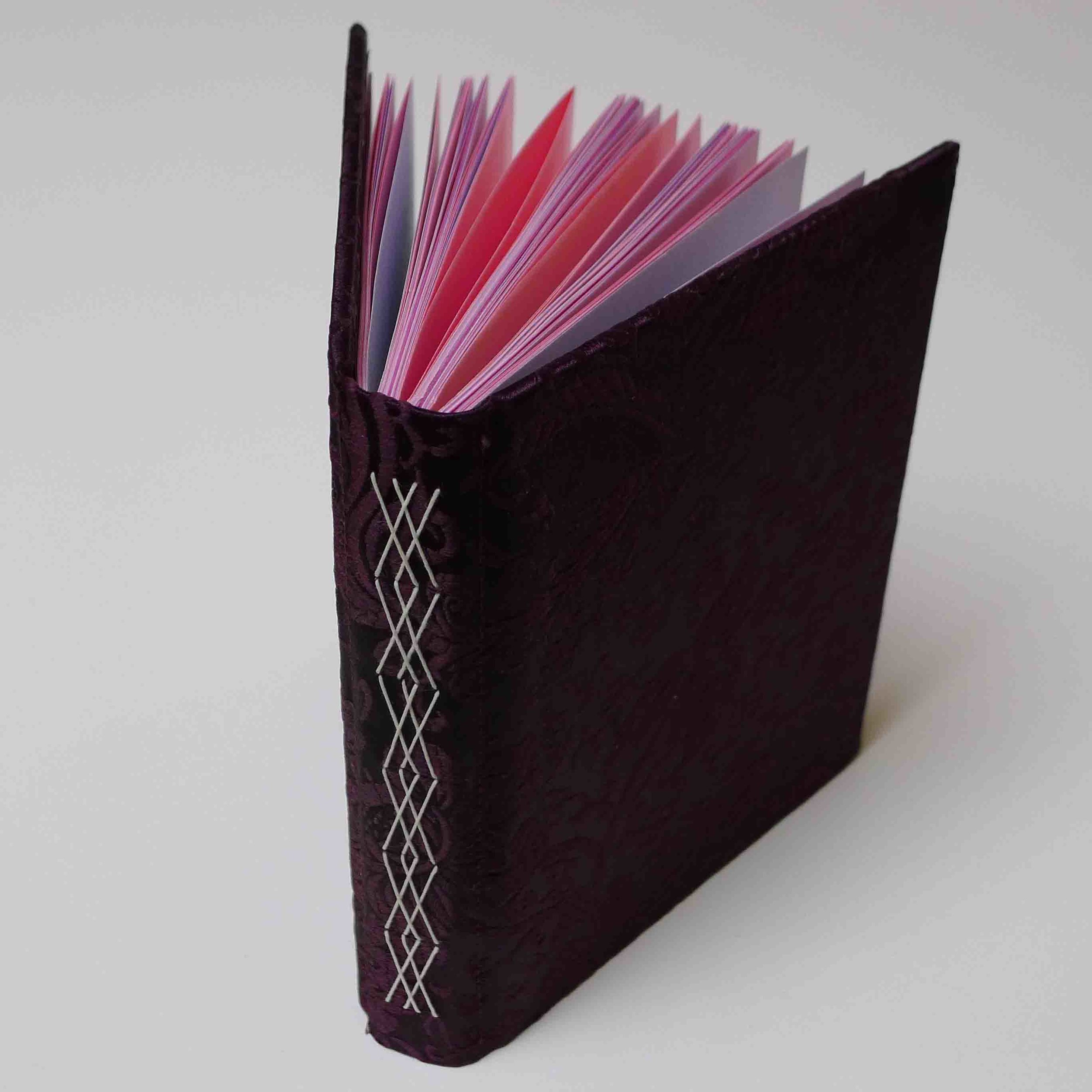 Fancy stitching through pairs of signatures, rigid cover