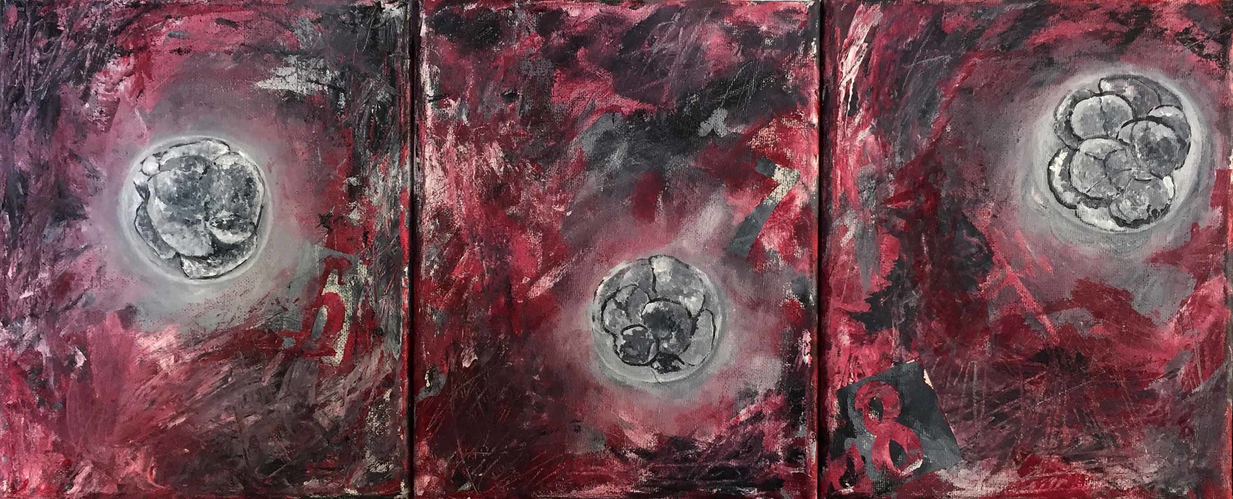 Fertility - Six, Seven and Eight Zygotes on a Canvas - triptych, acrylic, 24x10, 2016