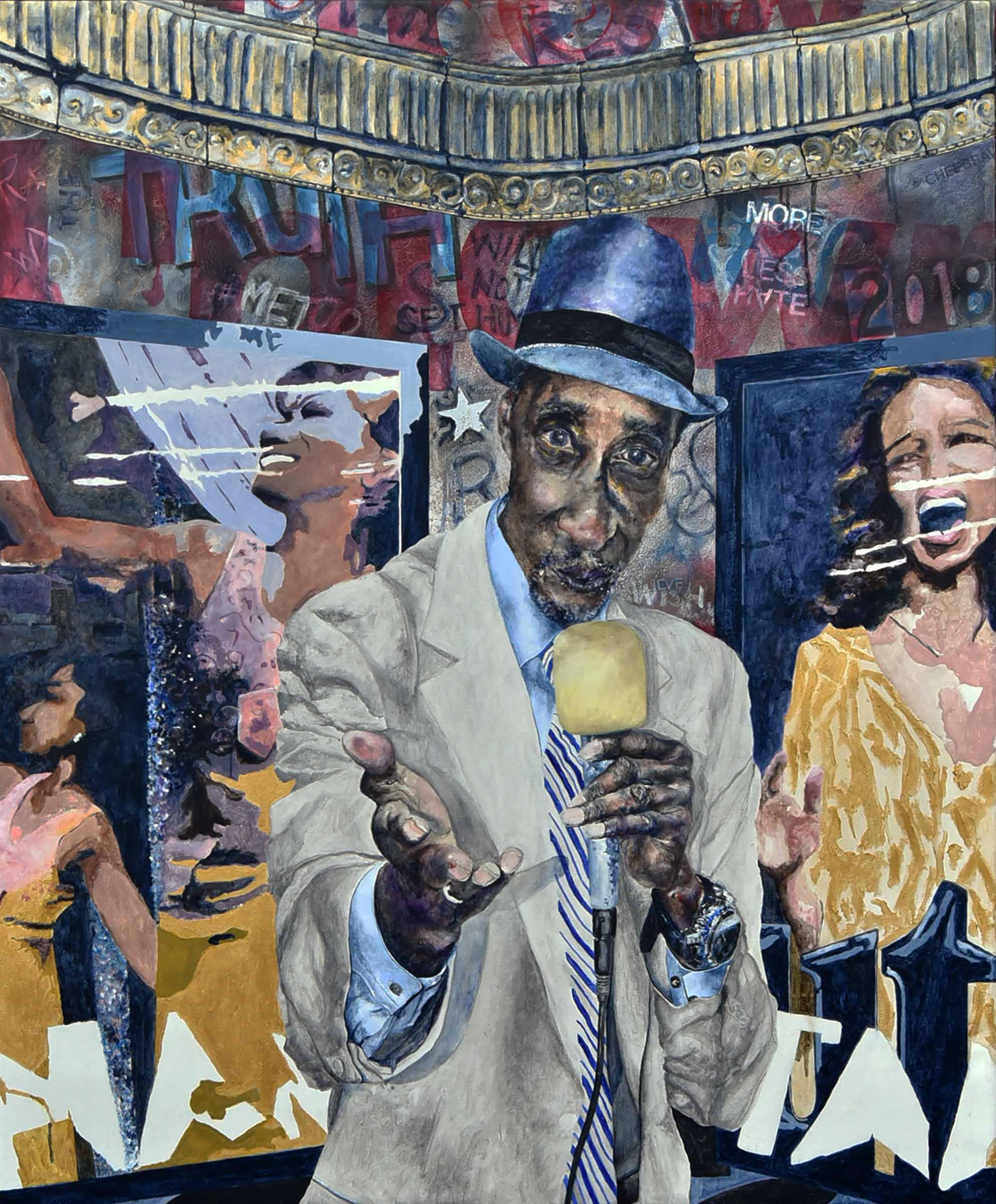 "The Crooner - mixed media, 56""x46"", 2018"