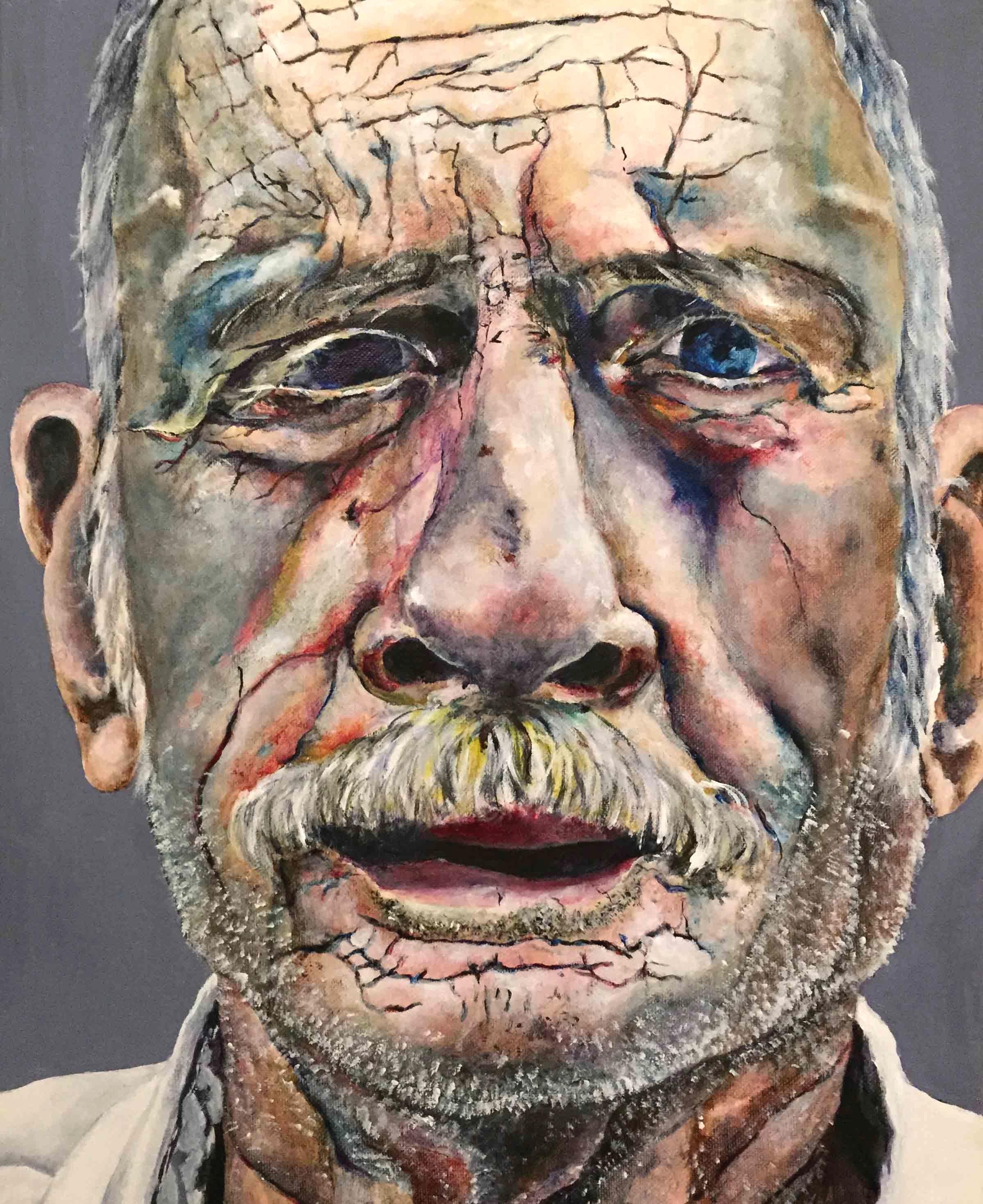 """El Viejo - acrylic, 20""""x16"""", 2015"""