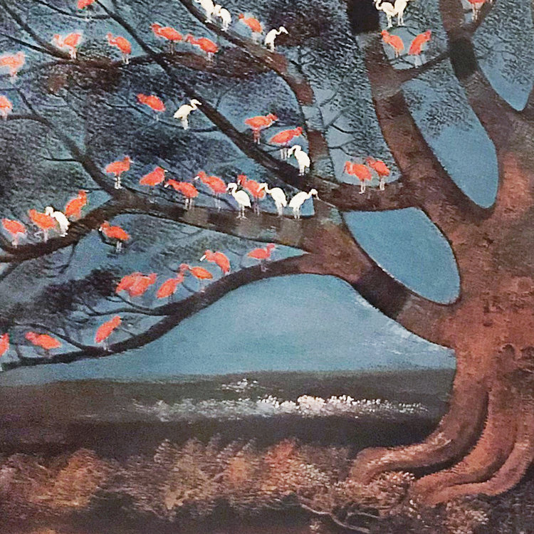 WIDAYAT  AN ALLEGORICAL AND MAGNIFICENTLY PAINTED ROOSTING TREE