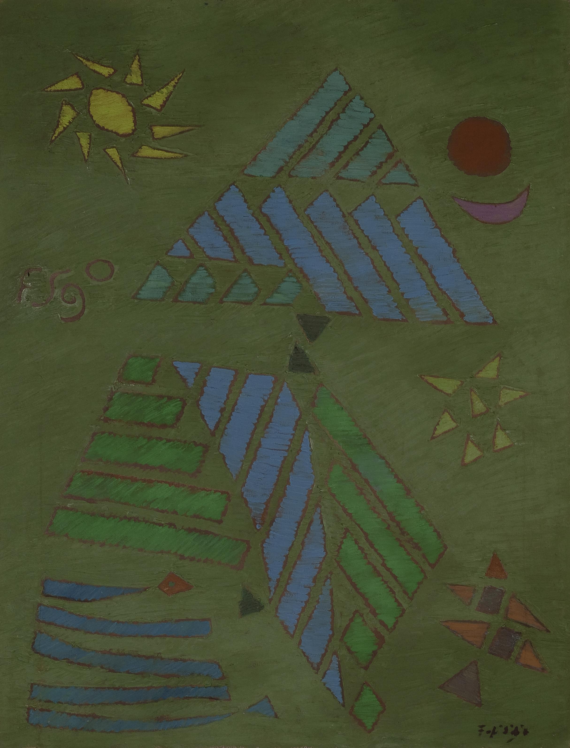 Fadjar Sidik, Abstraksi Matahari, Bulan dan Bintang (Sun, Moon and Star Abstraction), ooc, 90 x 70 cm, 1971.jpeg