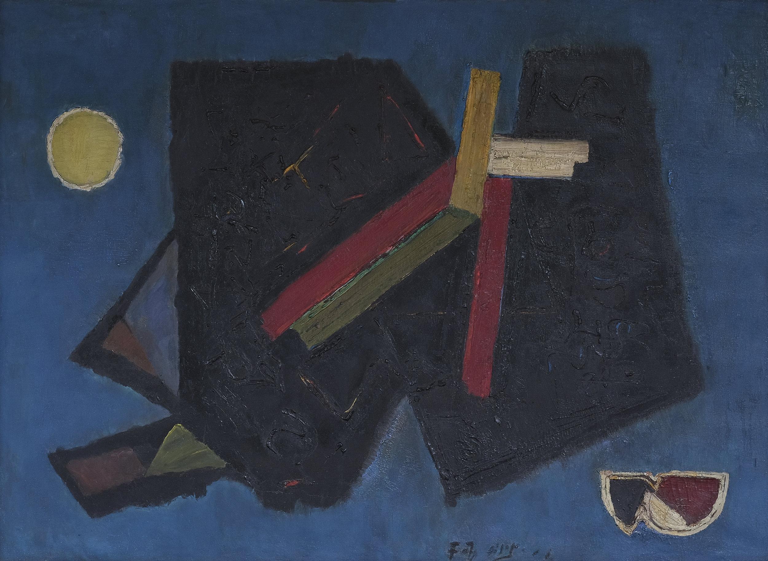Fadjar Sidik, Dinamika Keruangan, ooc, 100 x 139 cm, 1960.jpeg