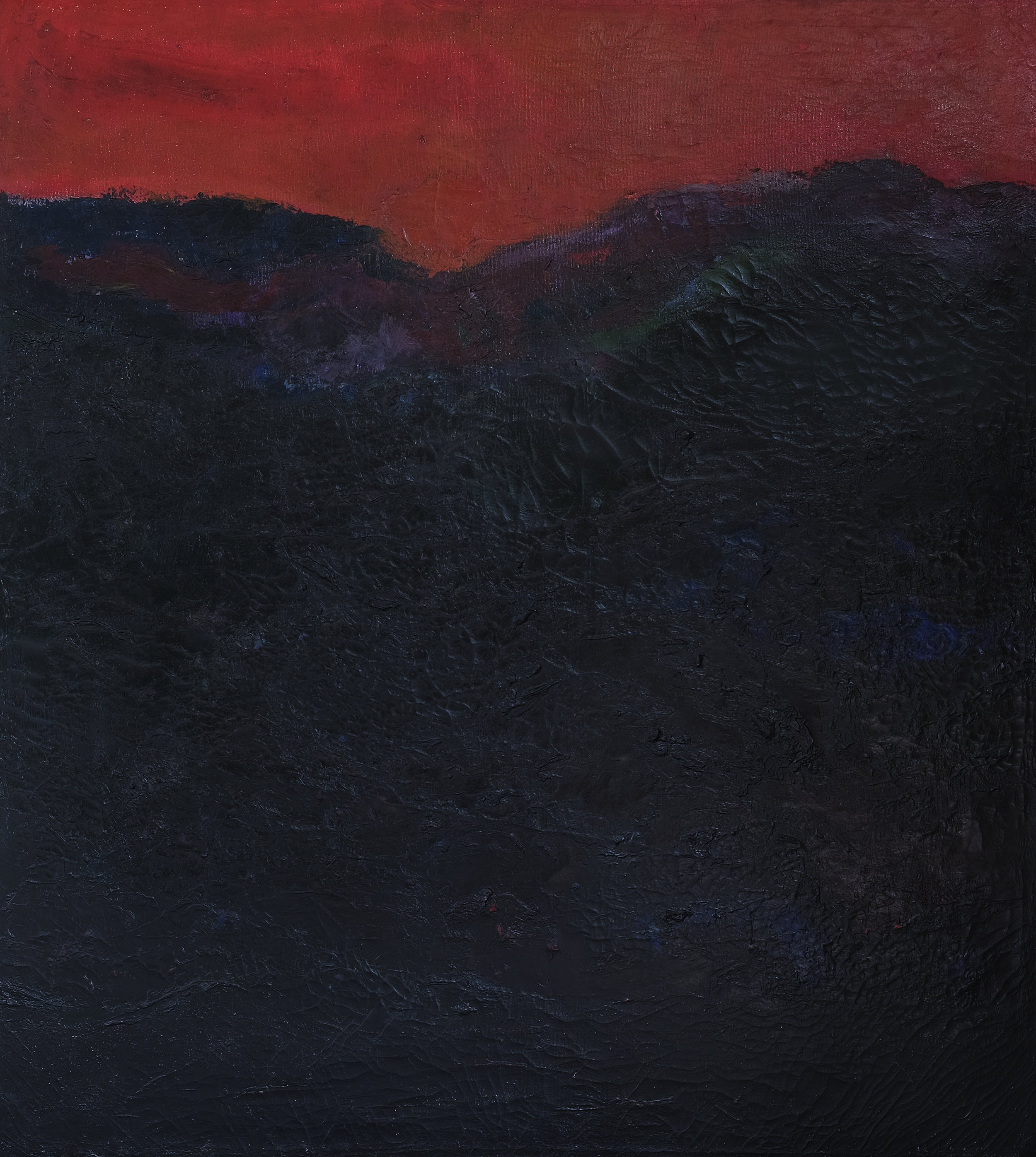 Popo Iskandar, Bukit Senja (Hills at Dusk), ooc, 90 x 100 cm, 1989.jpeg