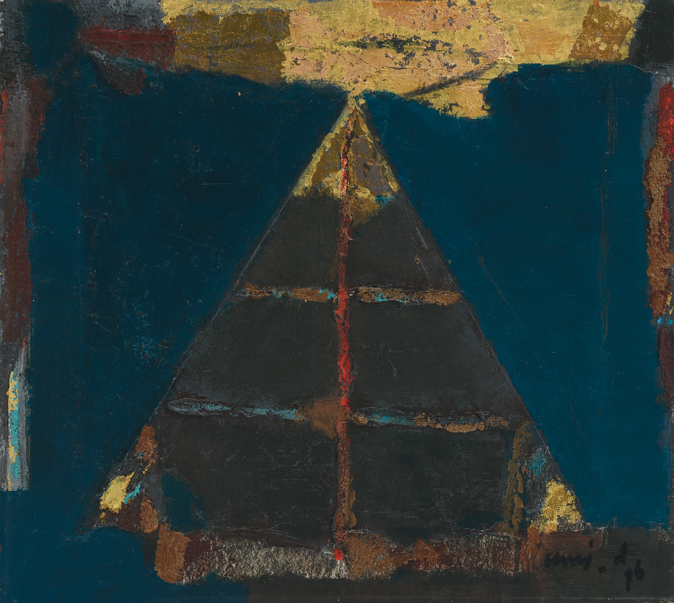 Umi Dachalan, Contemplation, oil and mixed media on paper mounted on board, 36 x 40 cm, 1996.jpg