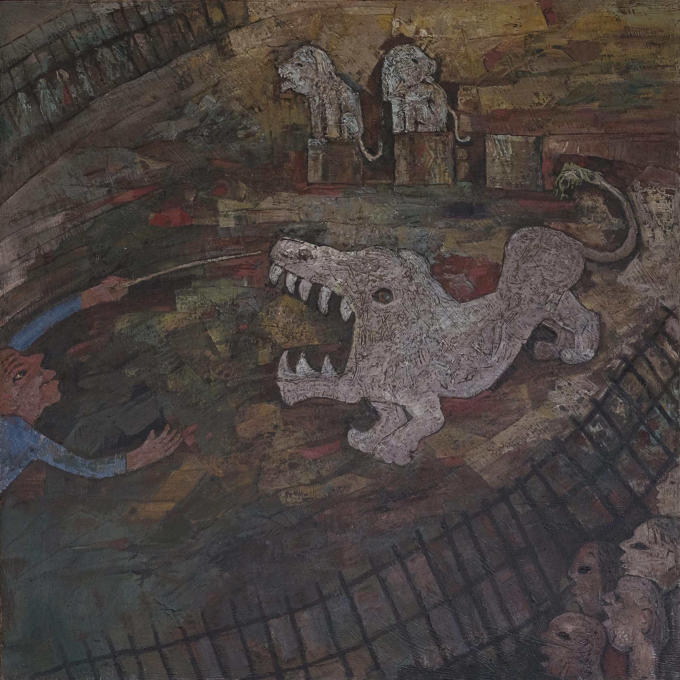 Widayat, Affandi Nonton Sirkus (Affandi Watching Circus), ooc, 136 x 136 cm, 1991.jpeg