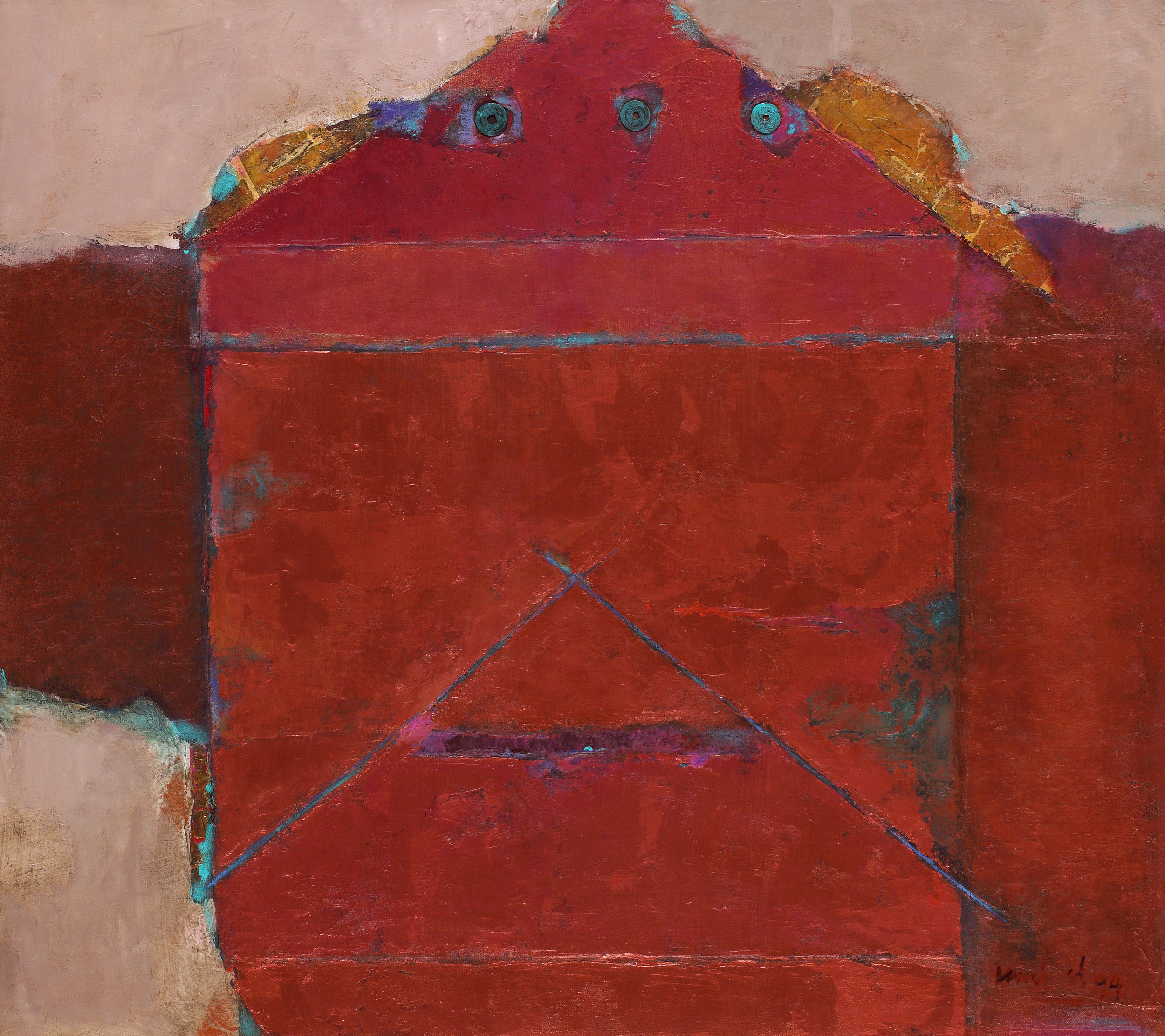 Umi Dahlan,The Mystery of Antique Coin on Copper Red, mixed media on canvas, 80 x 90 cm, 1994.jpg