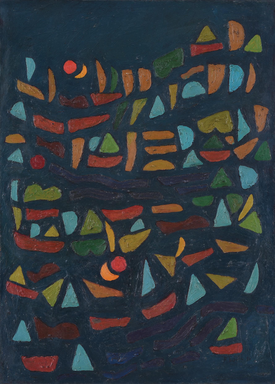 Fadjar Sidik, Bentuk Bertumpuk dengan Dua Matahari (Stacked Forms with Two Suns), 90x65cm, ooc, 1996.jpg