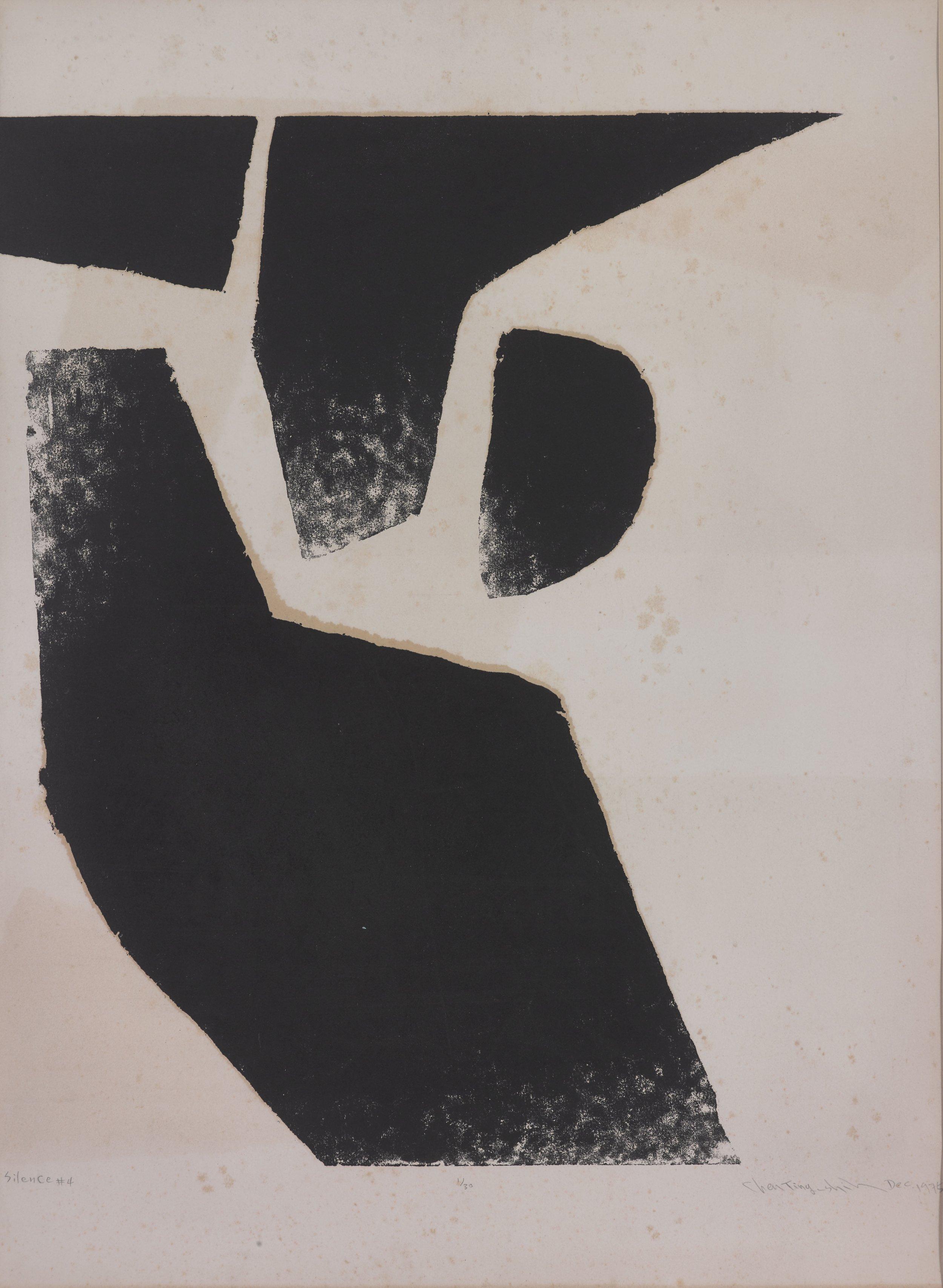 Chen Ting-Shih, Silence #4, 75x55cm, woodcut print, 1975.png