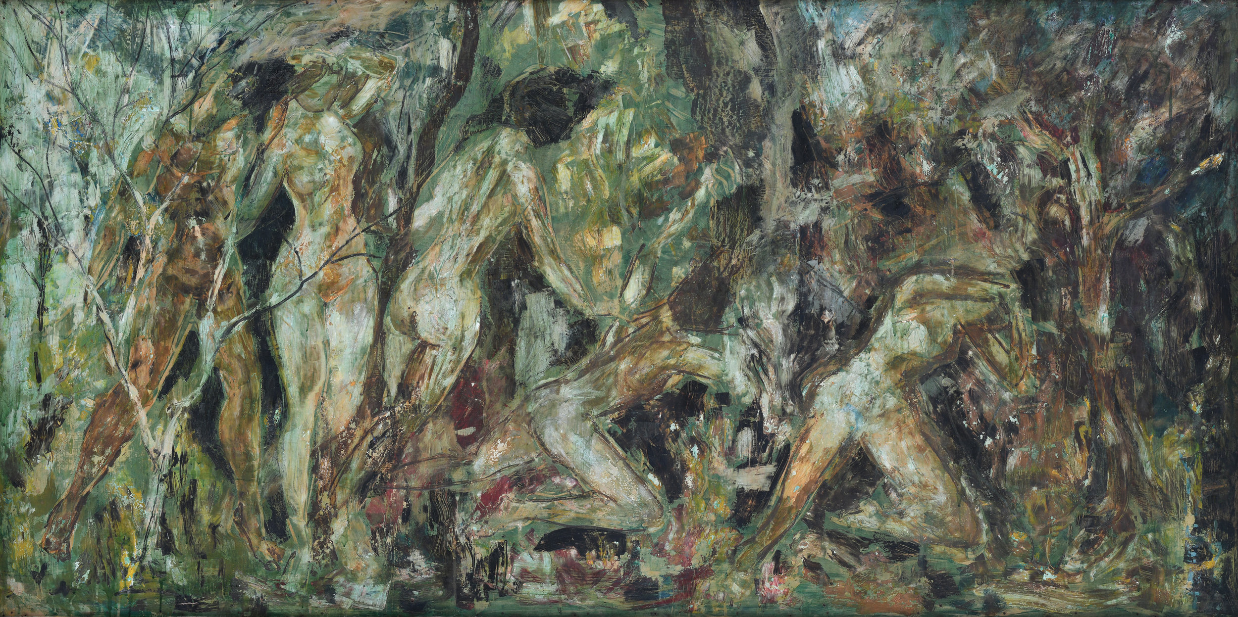 The Expulsion from Eden,  1964   oil on board 130 x 240 cm